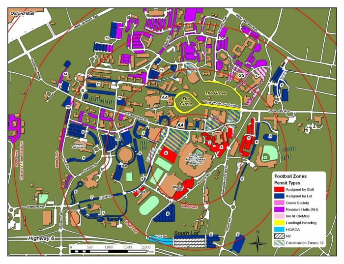 Vaught Hemingway Parking Map Ole Miss